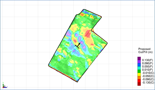 Map of land levelling required to effect good drainage while running beds across the slope