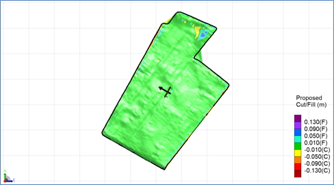 Map of cut and fill required to effect good drainage while running beds down the slope